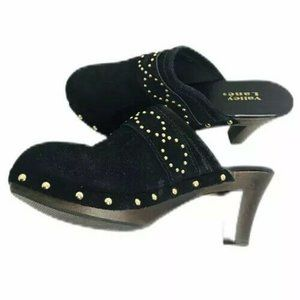 Black Clog Mules Suede Leather Studded Slip On